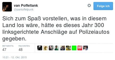Tweet von @pantoffelpunk: Sich zum Spaß vorstellen, was in diesem Land loswäre, hätte es dieses Jahr 300 linksgerichtete Anschläge auf Polizeiautos gegeben.