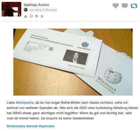 Foto des Bettelbriefes. -- Liebe #wikipedia, da du nun sogar Bettel-Briefe nach Hause schickst, sehe ich erstmal von weiteren Spenden ab. Wer sich als NGO eine fundraising-Abteilung leistet, hat IMHO etwas ganz wichtiges nicht begriffen: Wenn du gut und wichtig bist, wird man dir immer helfen. Da braucht es keine Geldeintreiber. -- #wikimedia #wmde #spenden
